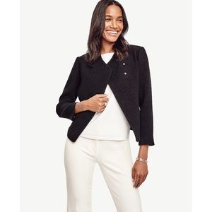 Ann Taylor Black Wool Blend Moto Jacket
